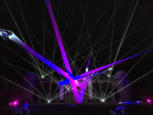 Laser effects outdoors in June, Glastonbury Festival, Goodwood Festival of Speed